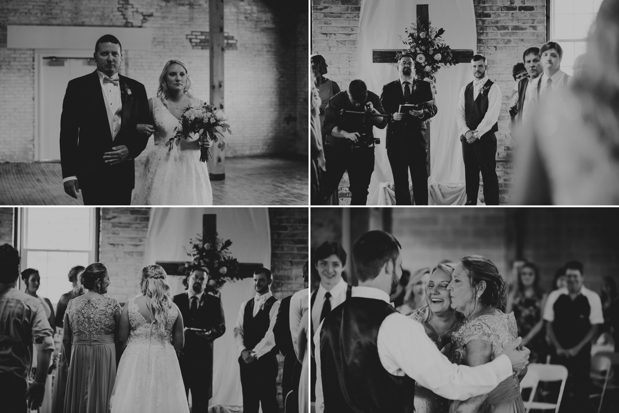 Black and white collage of the bride coming down the aisle with her brother then her mom.