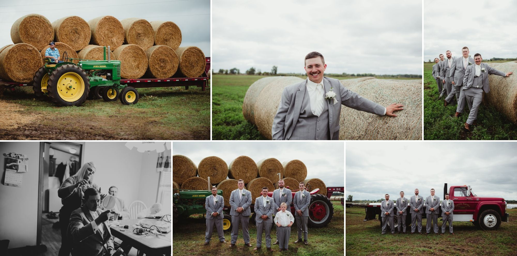 Collage of the groom getting ready and him and his groomsmen in photos on their family farm. Grey suits.