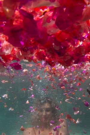 A woman underwater and underneath pink and red flowers
