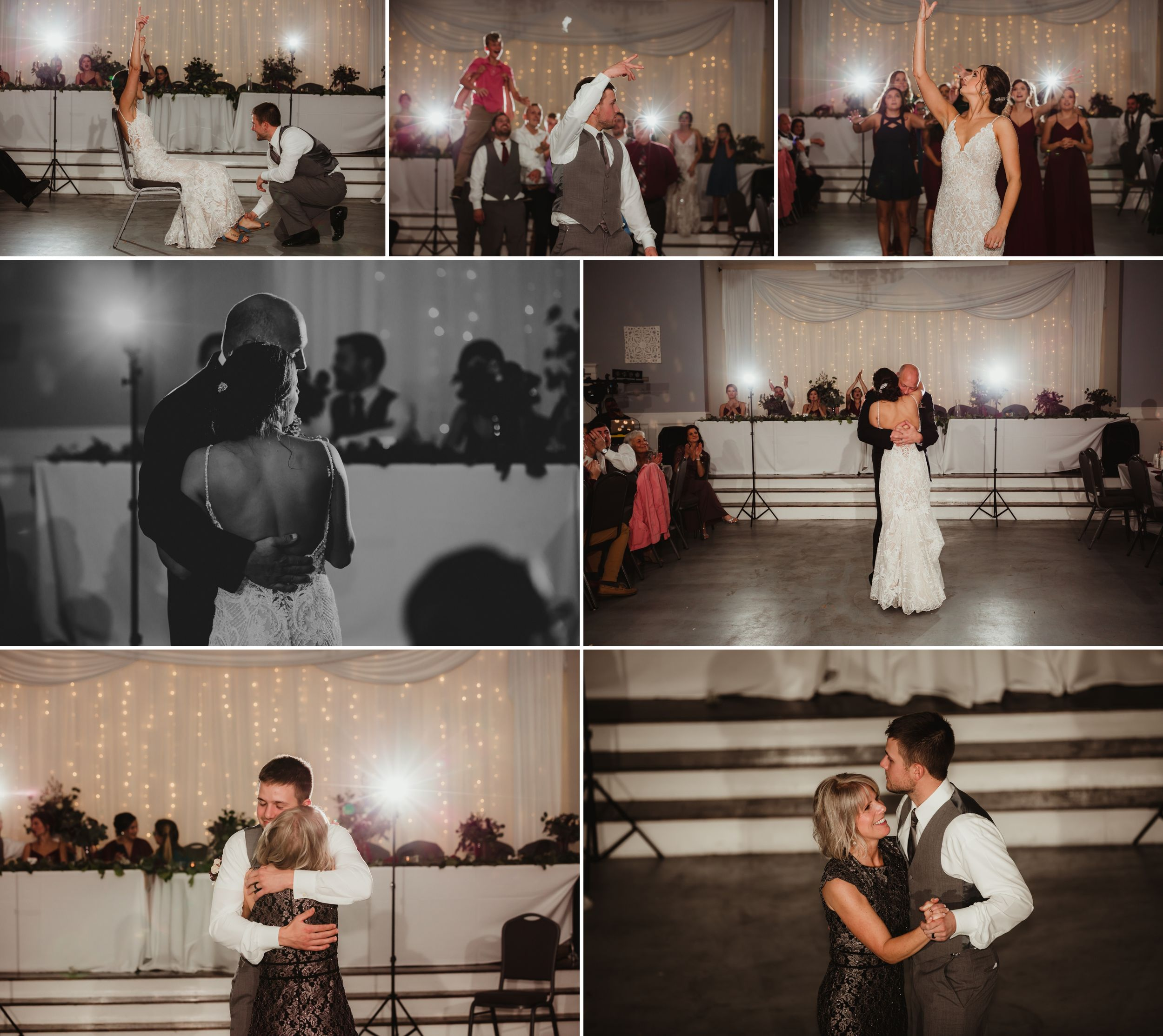 Collage of the bouquet toss, garter, father daughter dance, and mother son dance.