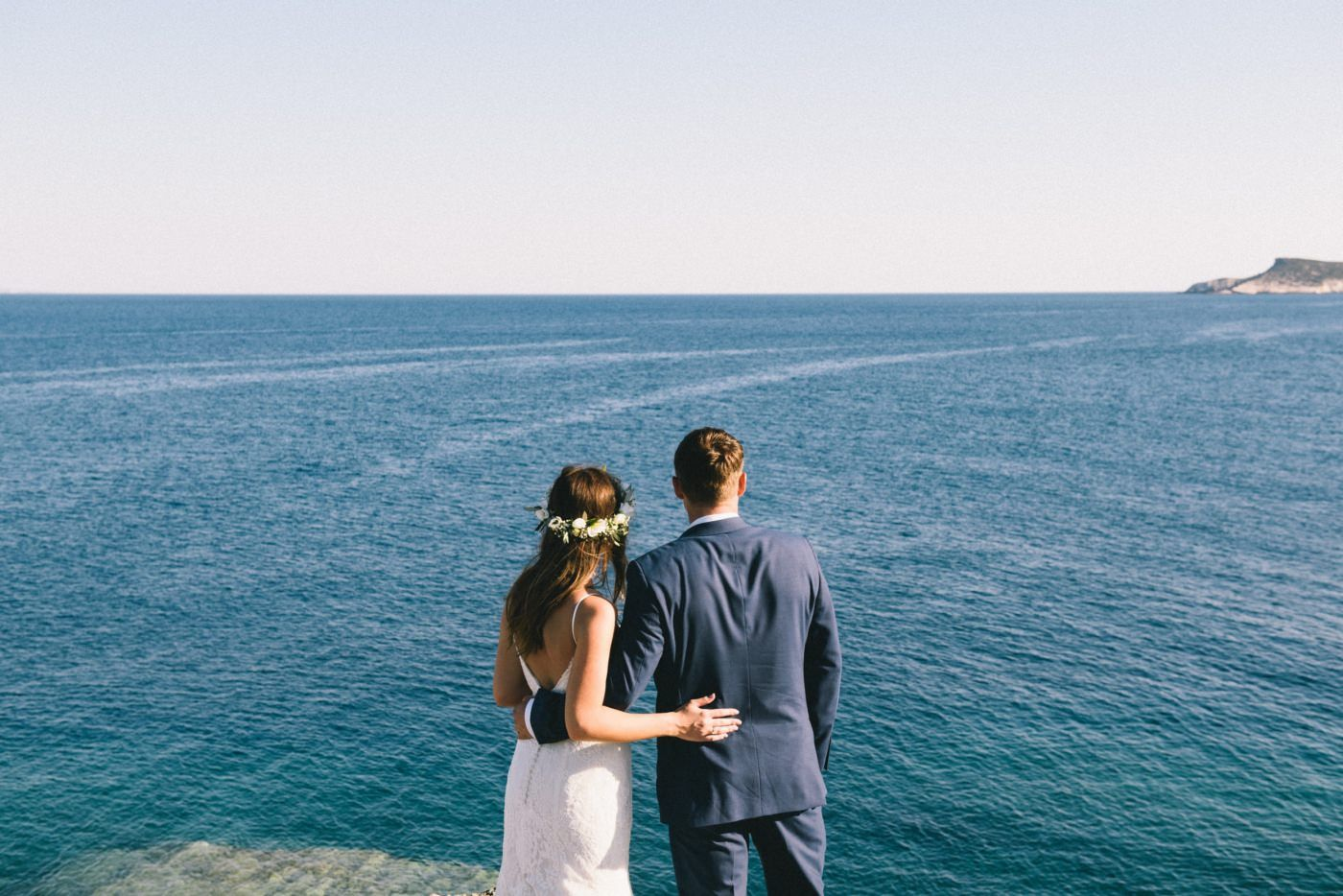 bride and groom portraits at sifnos wedding