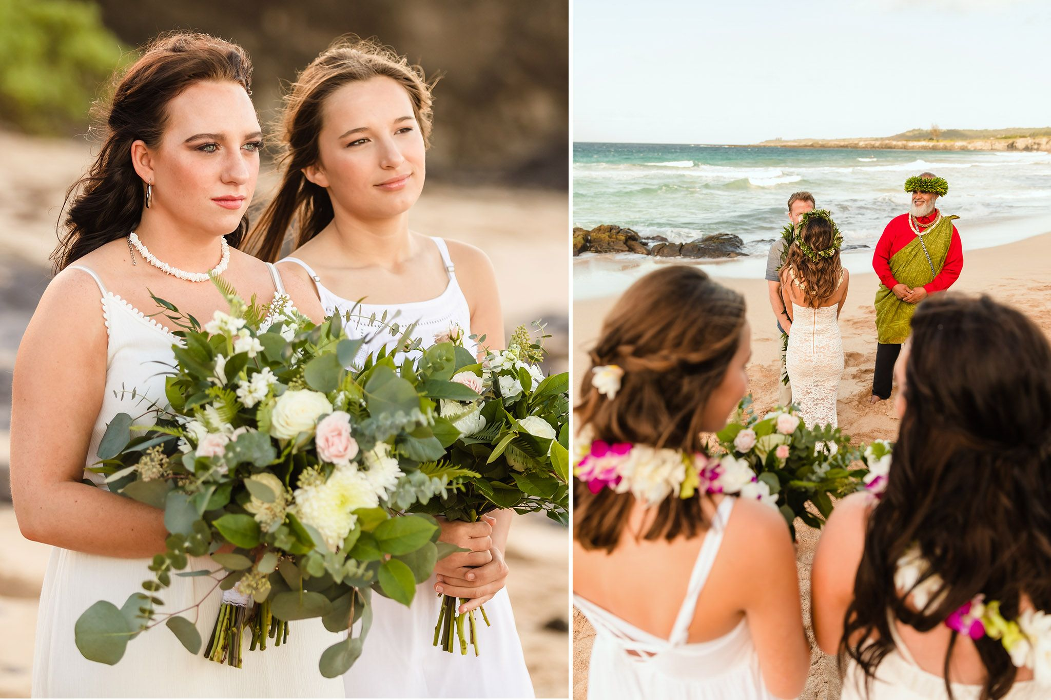 daughters watching maui wedding