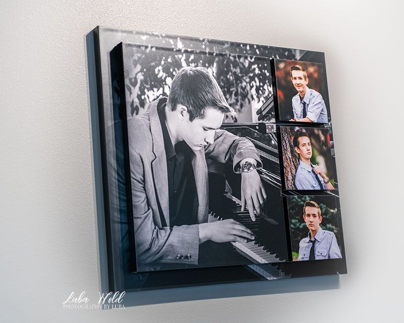 high school senior boy playing piano, wall art display, created by luba wold in coeur dl alene, Idaho