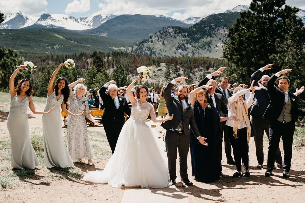 bridal party, grooms party, rmnp, ymca, ceremony, photography, colorado, estes park, forest wedding, classy, timeless