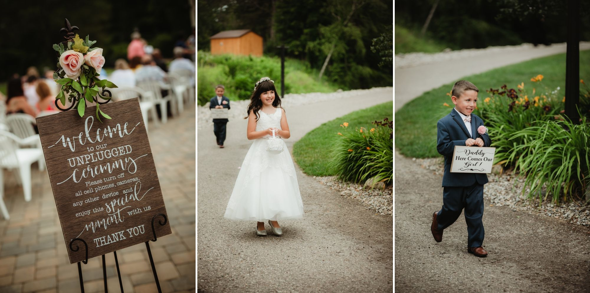 Photos of a welcome sign then the flower girl and ring bearer walking down a path outside.