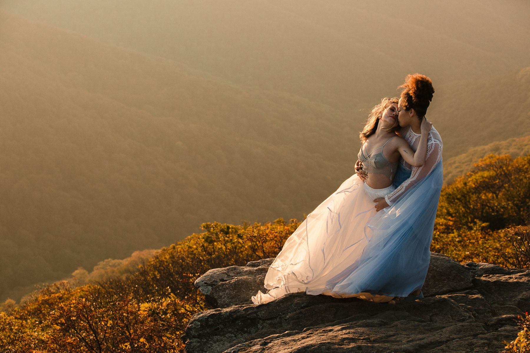 two brides on top of mountain in asheville nc area