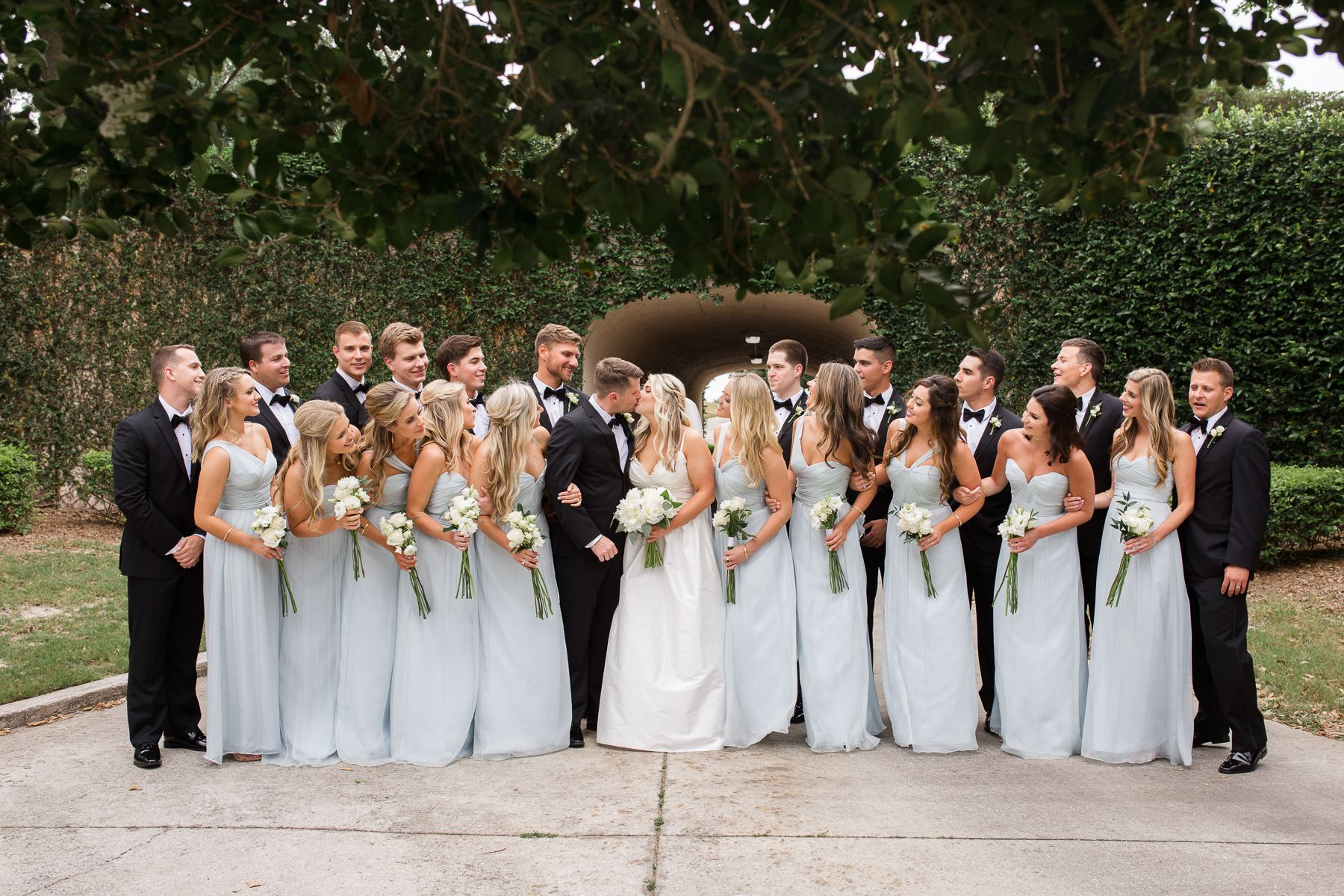 large bridal party in light blue dresses at lakewood ranch country club wedding