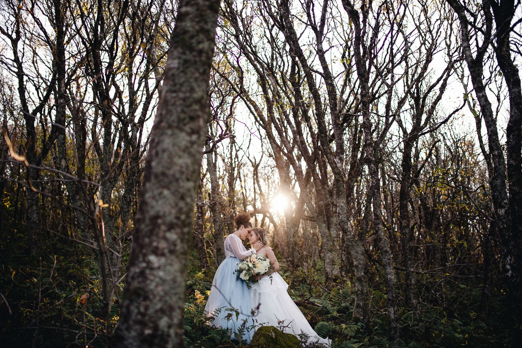 Two brides kissing in the woods by NC elopement photographer