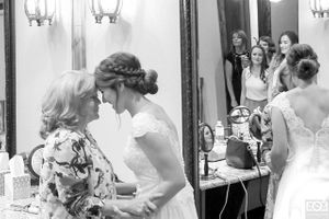 mom and daughter getting ready wedding day texas weatherford