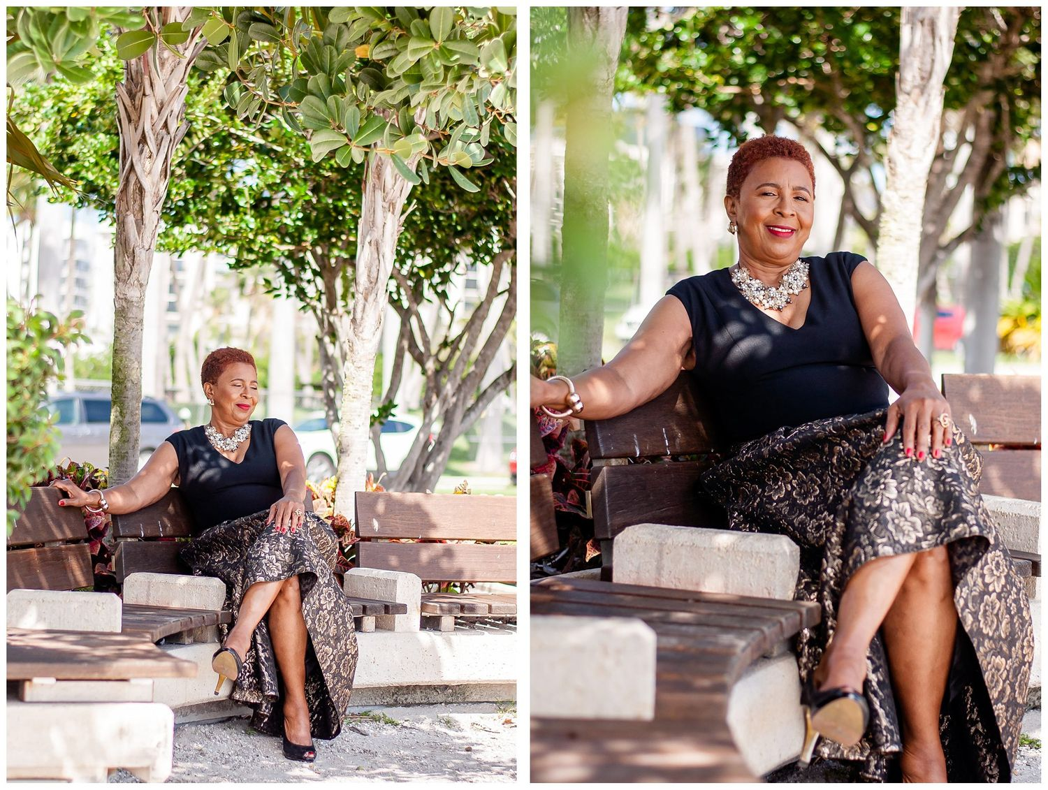 woman sitting on bench by trees Downtown West Palm Beach portrait session