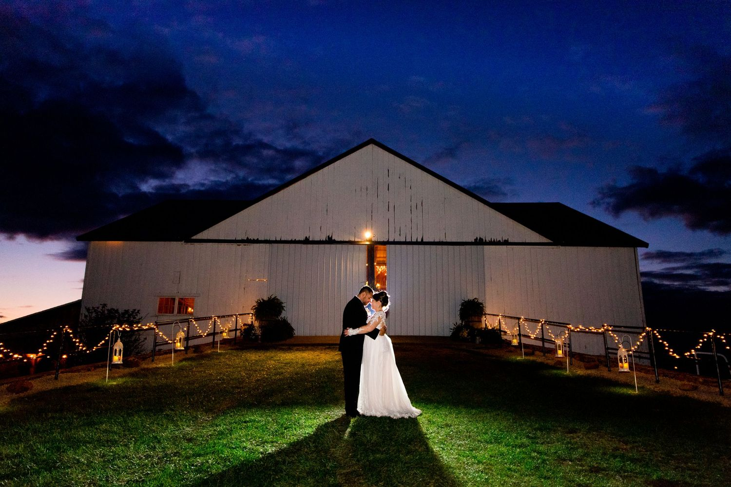 newlywed couple standing with faces together under a dark blue sky at night
