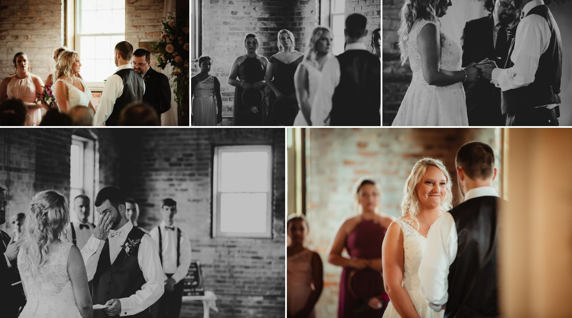 Collage of the wedding ceremony with bride and groom facing each other. They read vows, exchange rings, and cry.