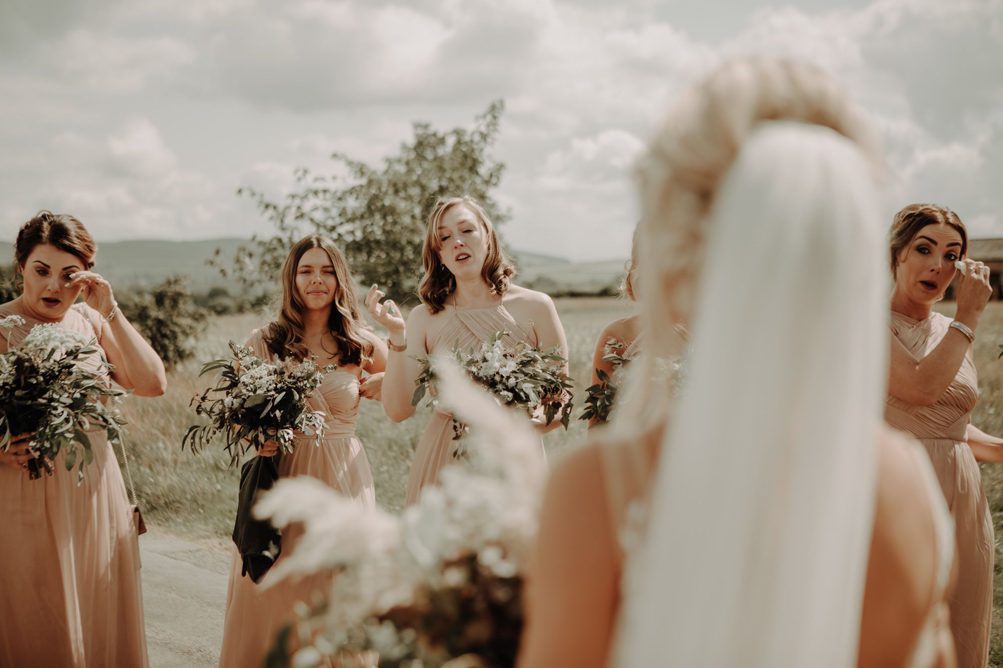 Bride and Bridesmaids reveal at Eden Barn