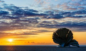 The Scallop at sunrise on Aldeburgh beach.