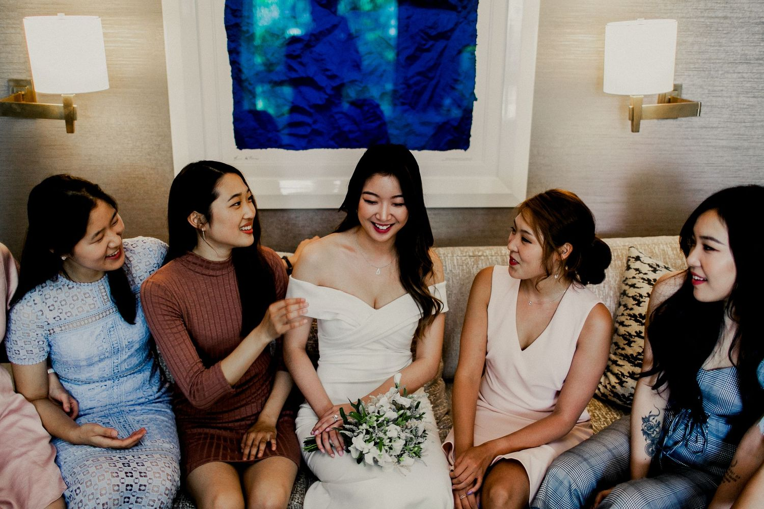 bridal party candid moment with bride