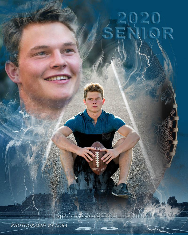 Spokane high school senior boy with football photographer luba wold creative sport collage