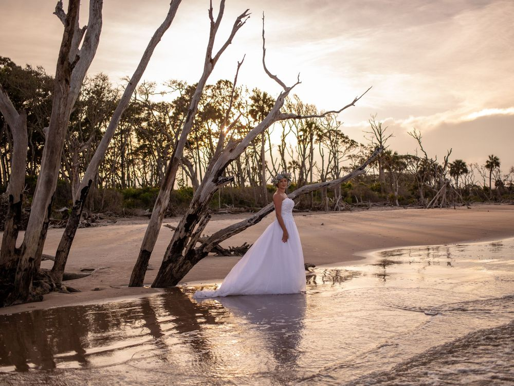 big talbot island boneyard beach bride styled shoot sunset