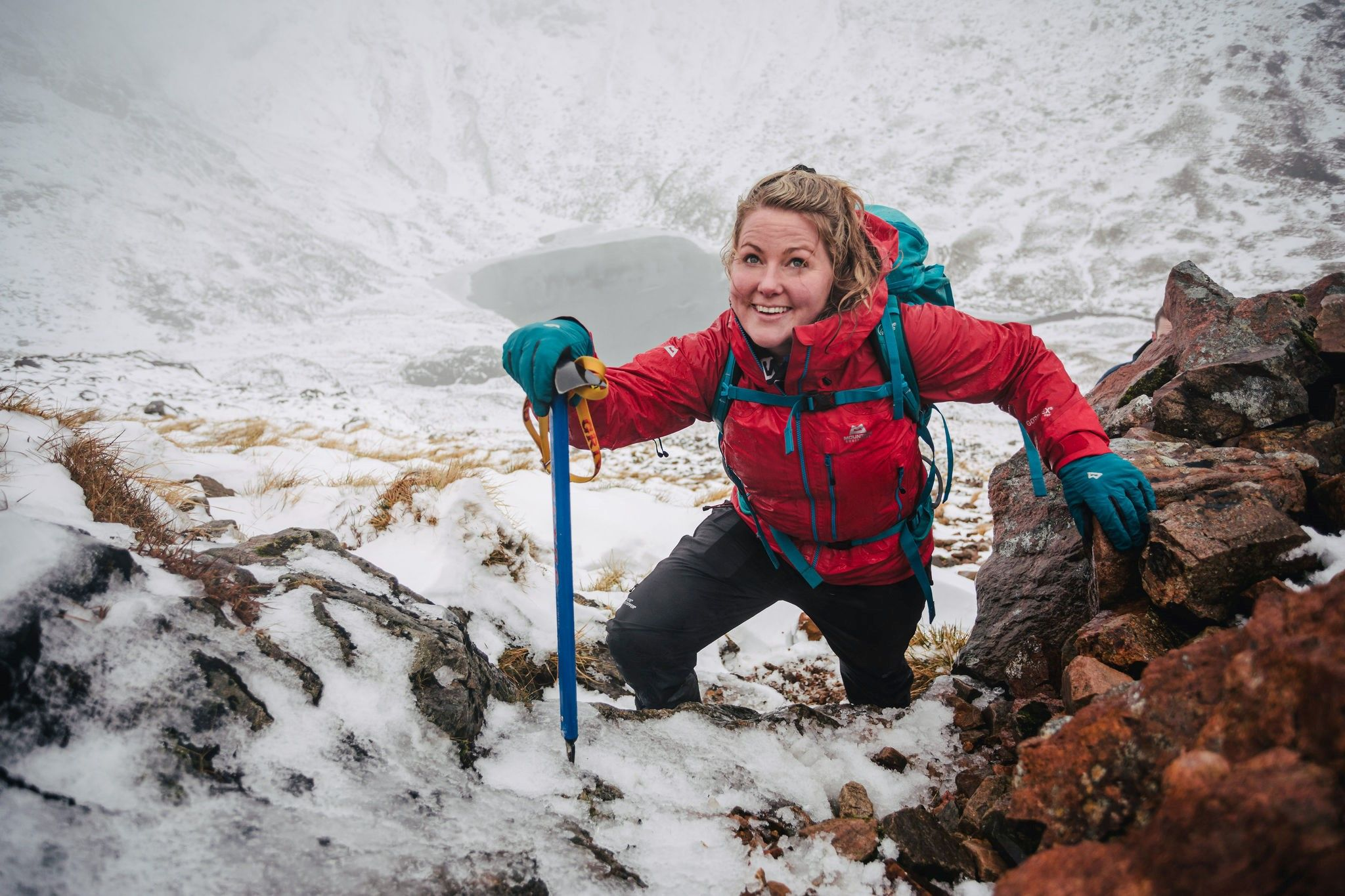 Mountaineer Mollie Hughes winter hiking a munro in the Highlands of Scotland with The Adventure Photographers