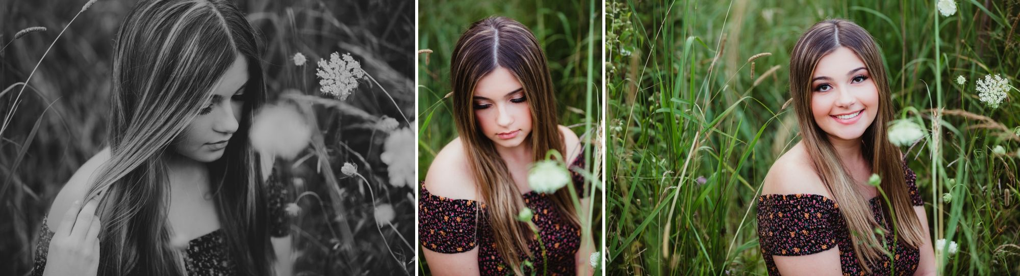 Collage of a high school senior girl sitting in long grass and white flowers. One photo is black and white.