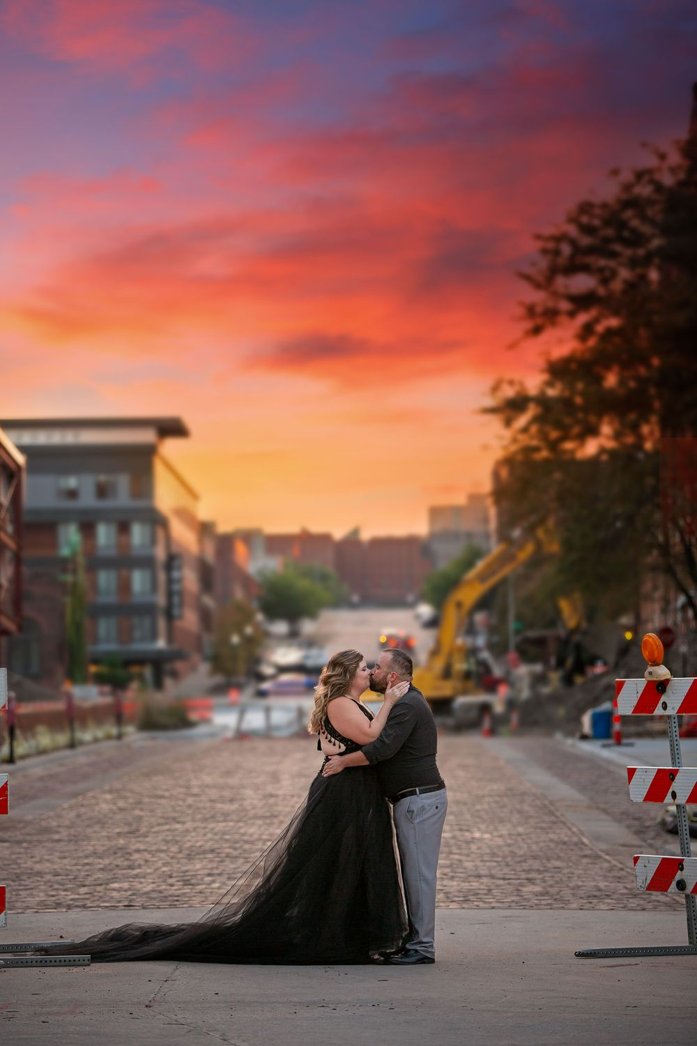 Gorgeous engagement photo of couple in Old Market in Omaha
