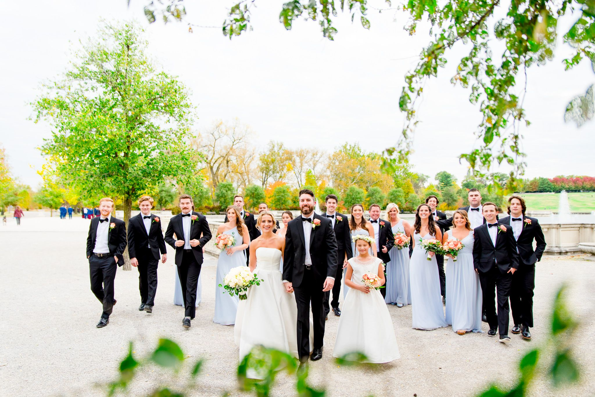 large wedding party in black suits and light blue dresses walk with bride and groom at Forest Park STL fall wedding