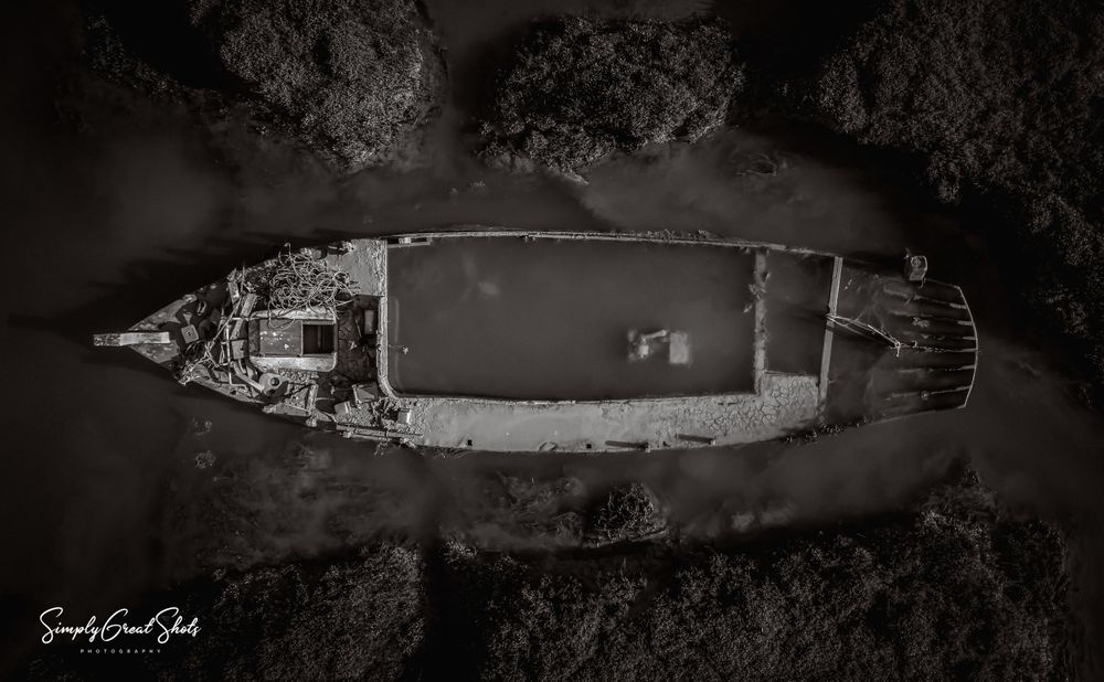 Shipwreck from above