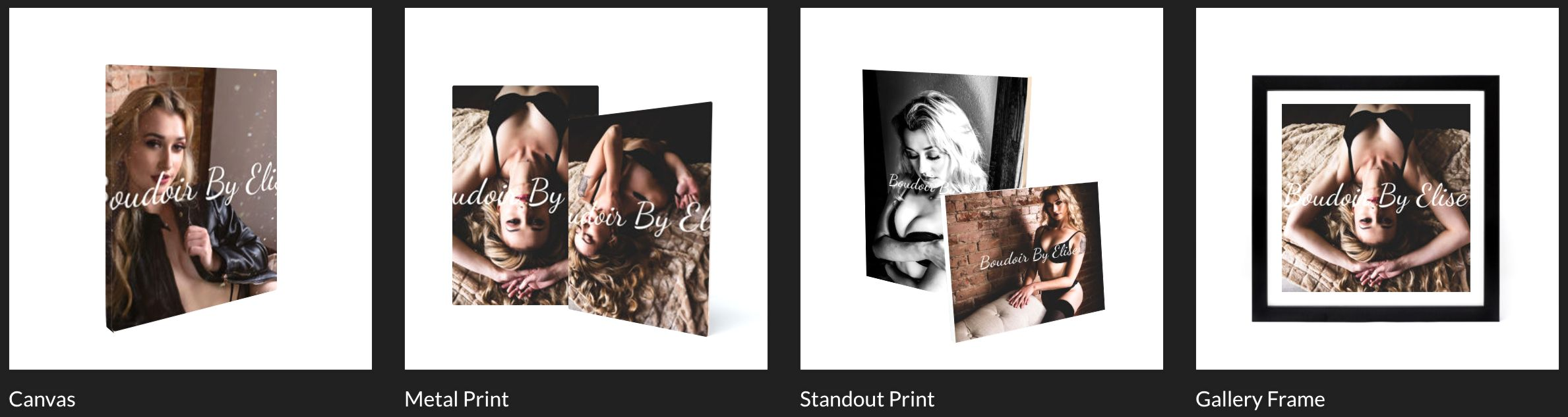 EXAMPLES OF PRINTED PRODUCTS WE HAVE AVAILABLE IN OUR STORE, SUCH AS CANVAS', ALBUMS, AND MUCH MORE!