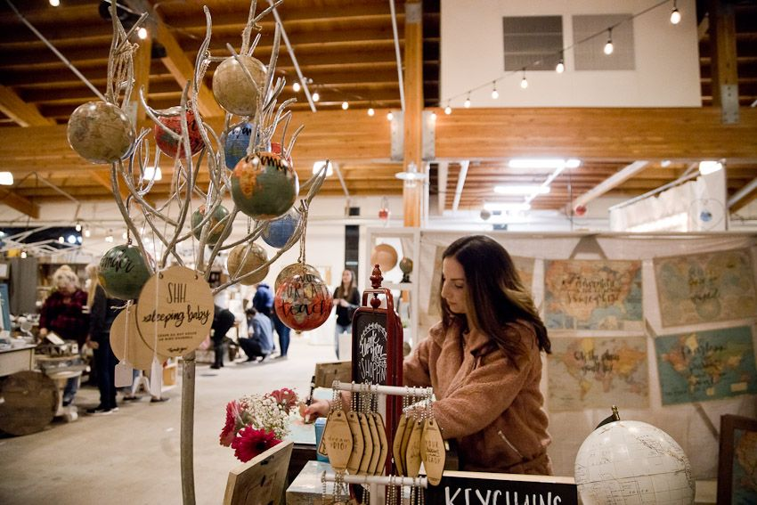 Pinology Puyallup Mia Nicole Booth Handmade calligraphy on globes and maps