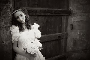 Bridal portrait in a rustic wedding style at a derelict church in Annersley