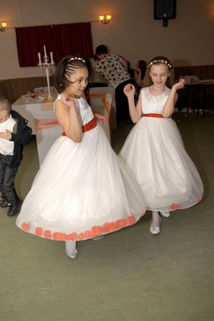 Two flower girls dancing on the dance floor together at a local pub wedding in Nottingham