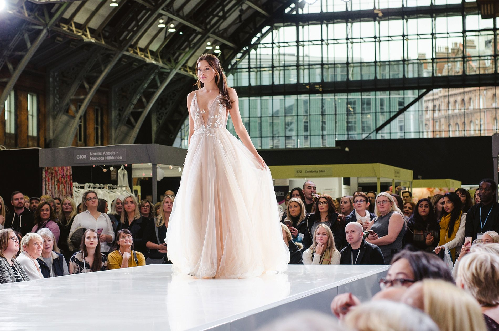 Bridal show catwalk model on runway Manchester