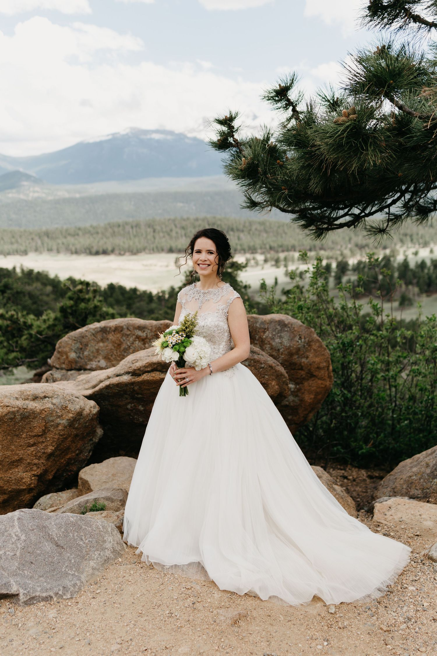 bridal portrait, forest, rmnp, ymca, ceremony, photography, colorado, estes park, forest wedding, classy, timeless