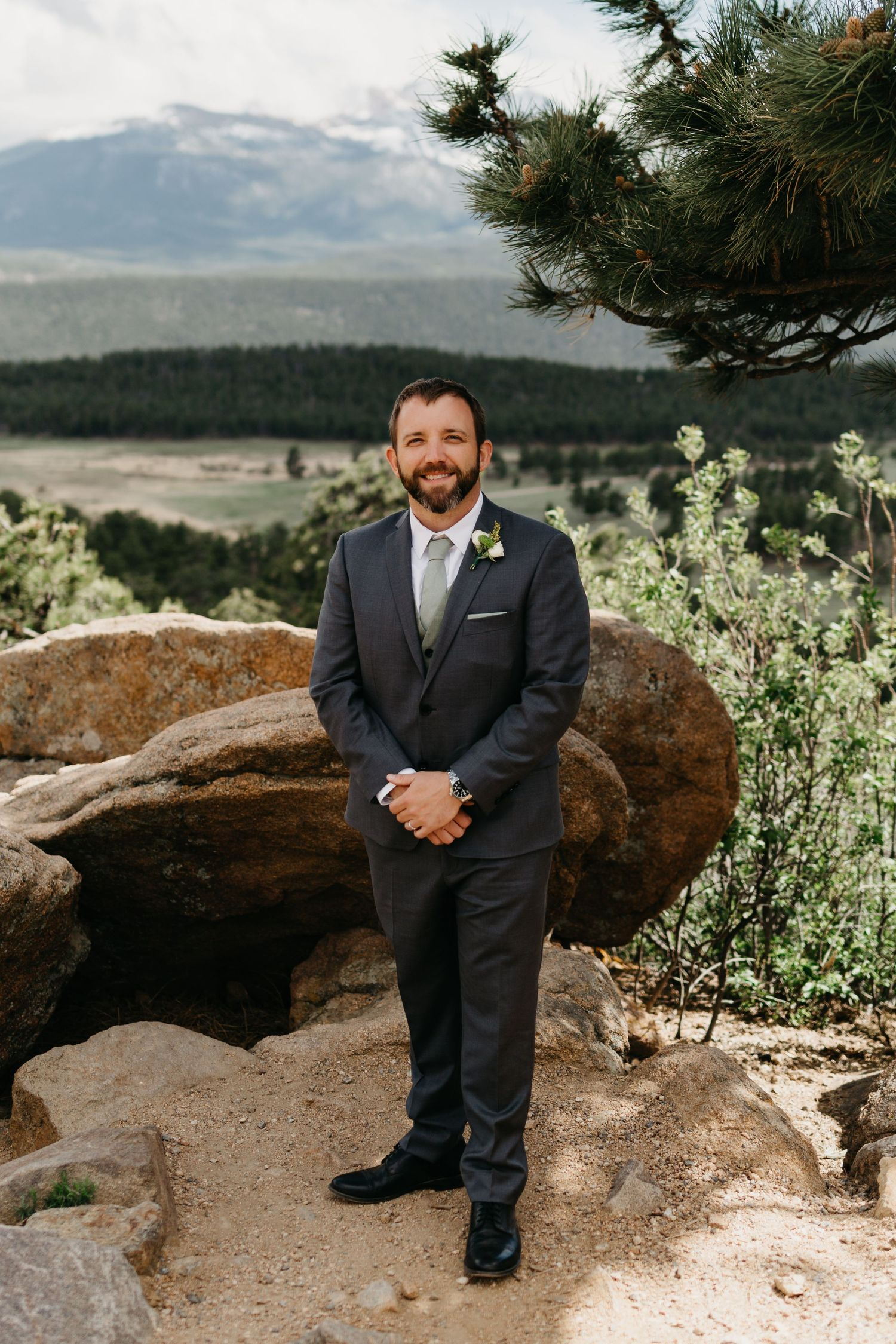 groom portrait, forest, rmnp, ymca, ceremony, photography, colorado, estes park, forest wedding, classy, timeless