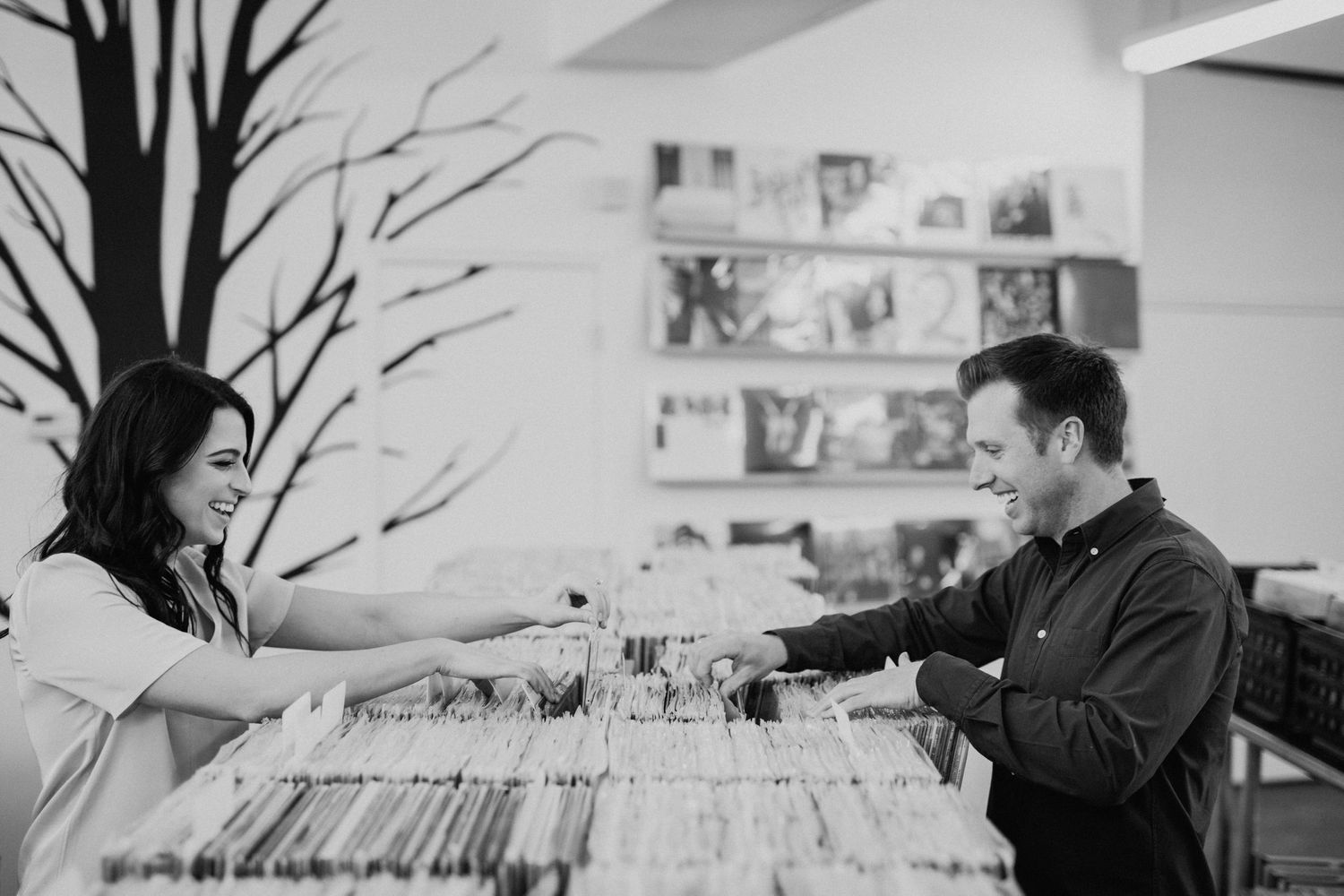 couple looking through records at a Kansas City record store