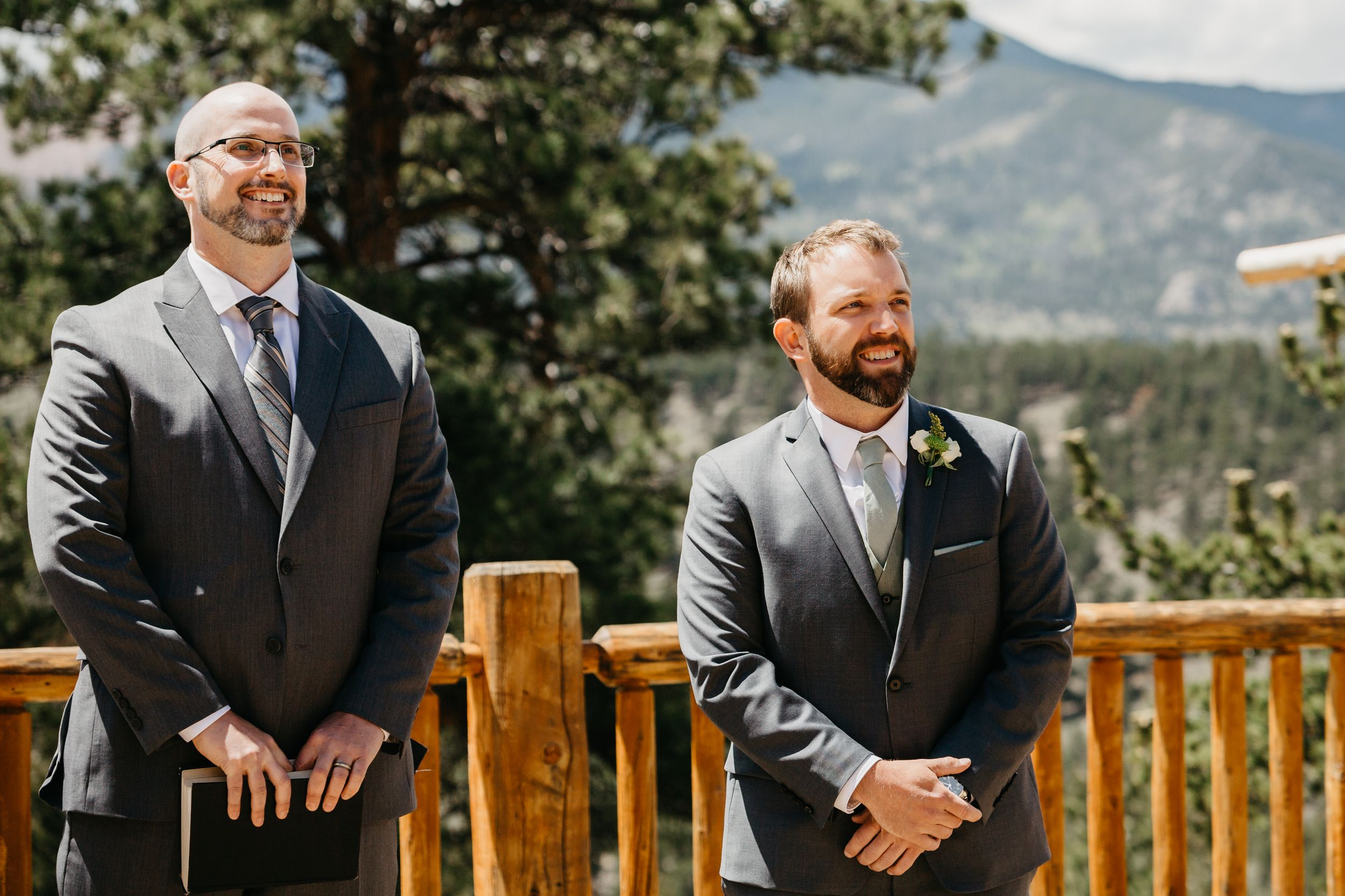 groom first look, walking down the aisle, ceremony, photography, colorado, estes park, forest wedding, classy, timeless