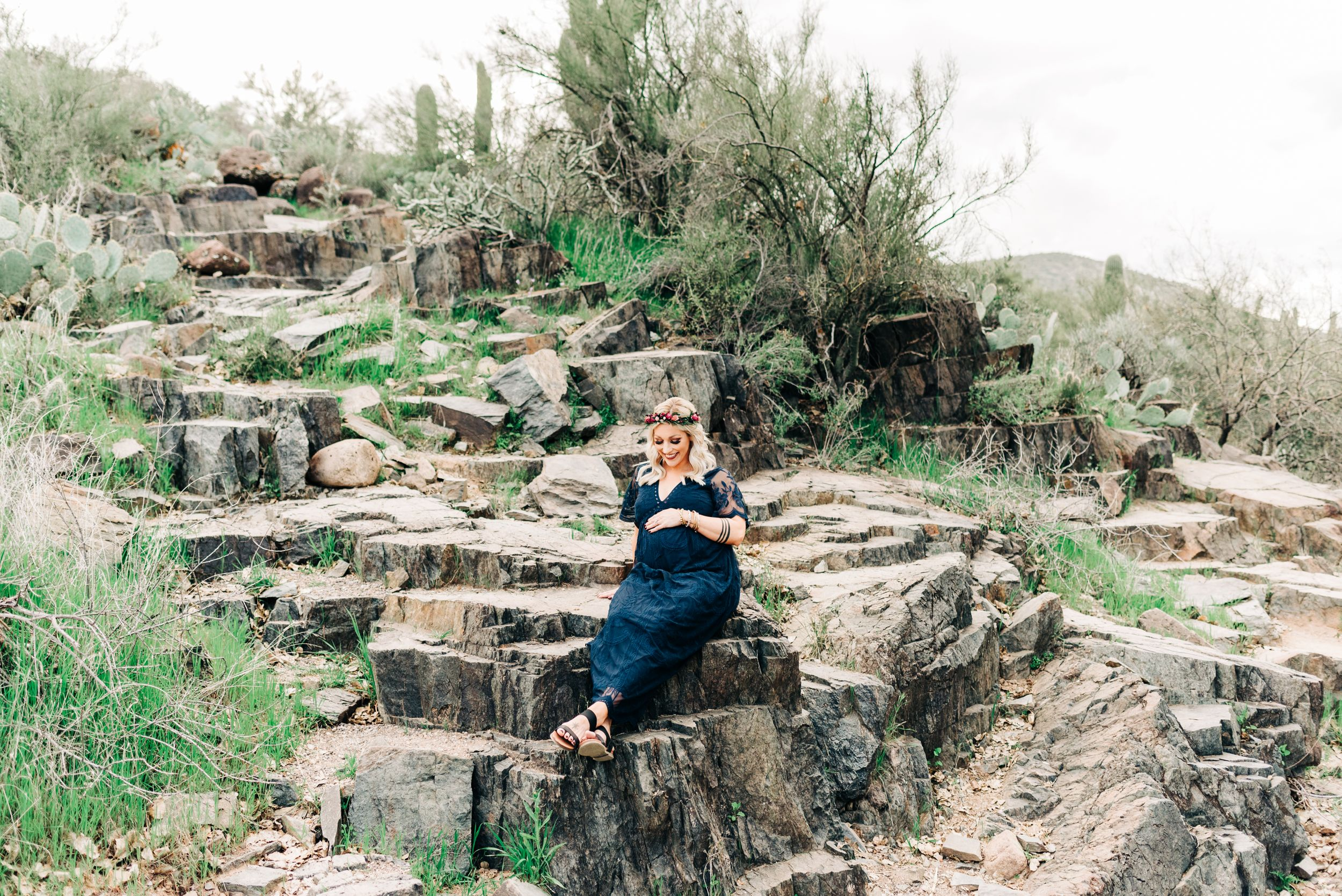 Sitting pose during maternity session in Phoenix, AZ