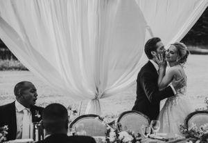 Michigan Wedding Photographer groom kisses bride on the check during reception