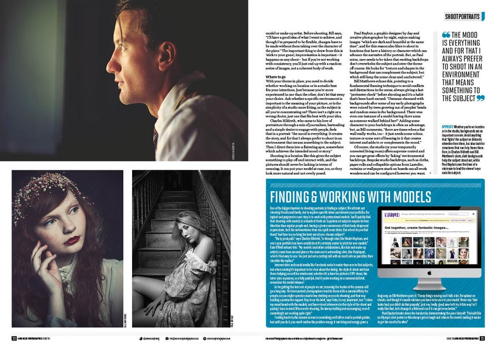 Portraits of models by Paul Baybut Photography inside a published professional photography magazine