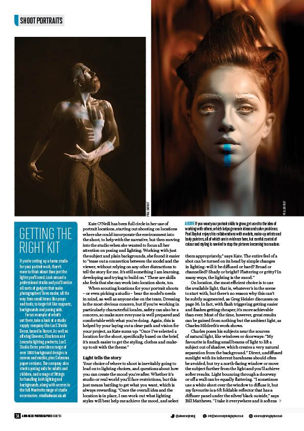 Artistic portraits of male and female models in the pages of a professional photography magazine by Paul Baybut