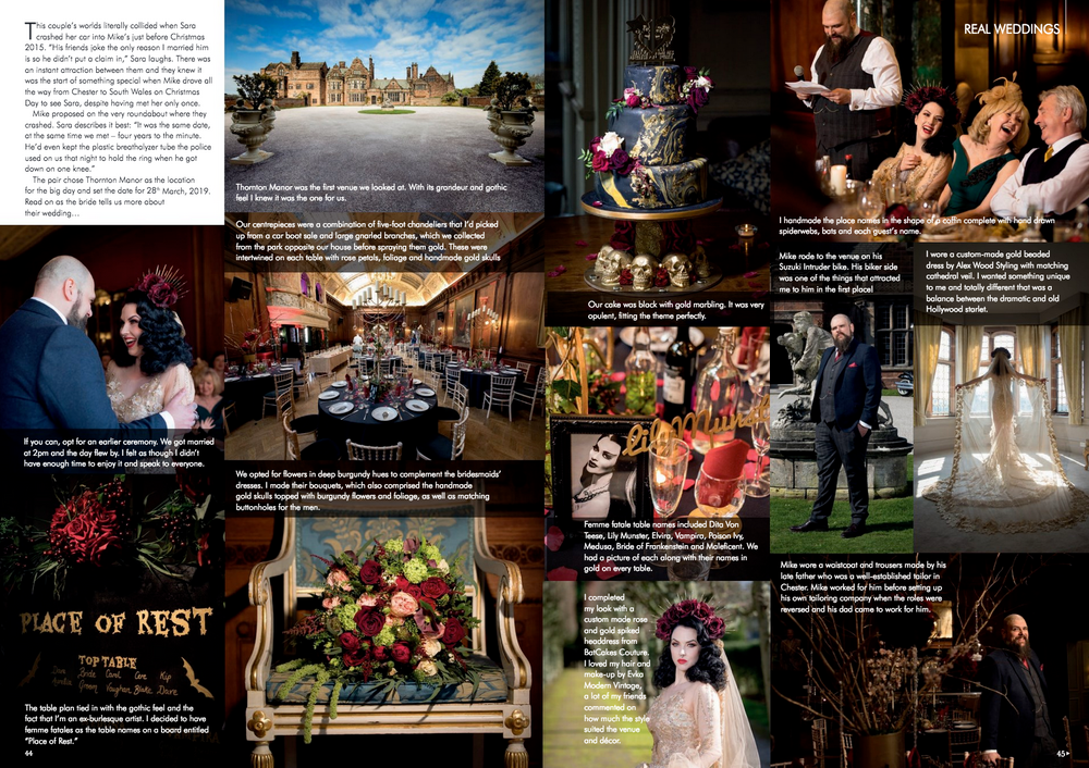 Various Thornton Manor wedding photos published in a Cheshire wedding photography magazine