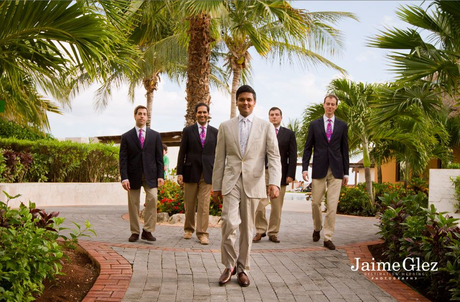 Groom and groomsmen at the Fairmont Mayakoba
