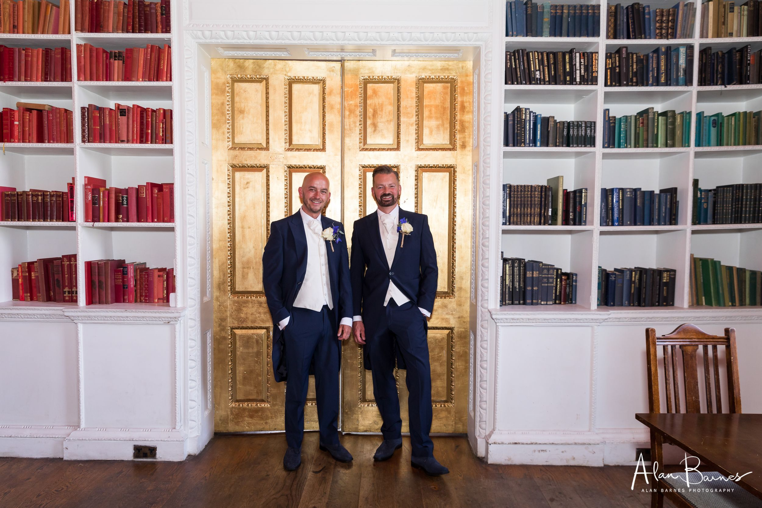 Phil and Paul wedding portrait in the library