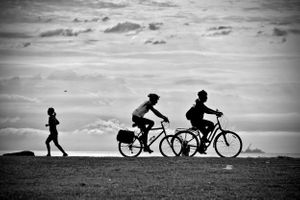 Chicago Lakefront Blackandwhite runner running bicycle lakefront path