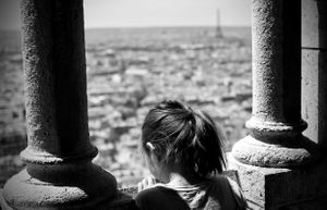Paris Blackandwhite SacreCouer Eiffel Tower Little Girl Kids