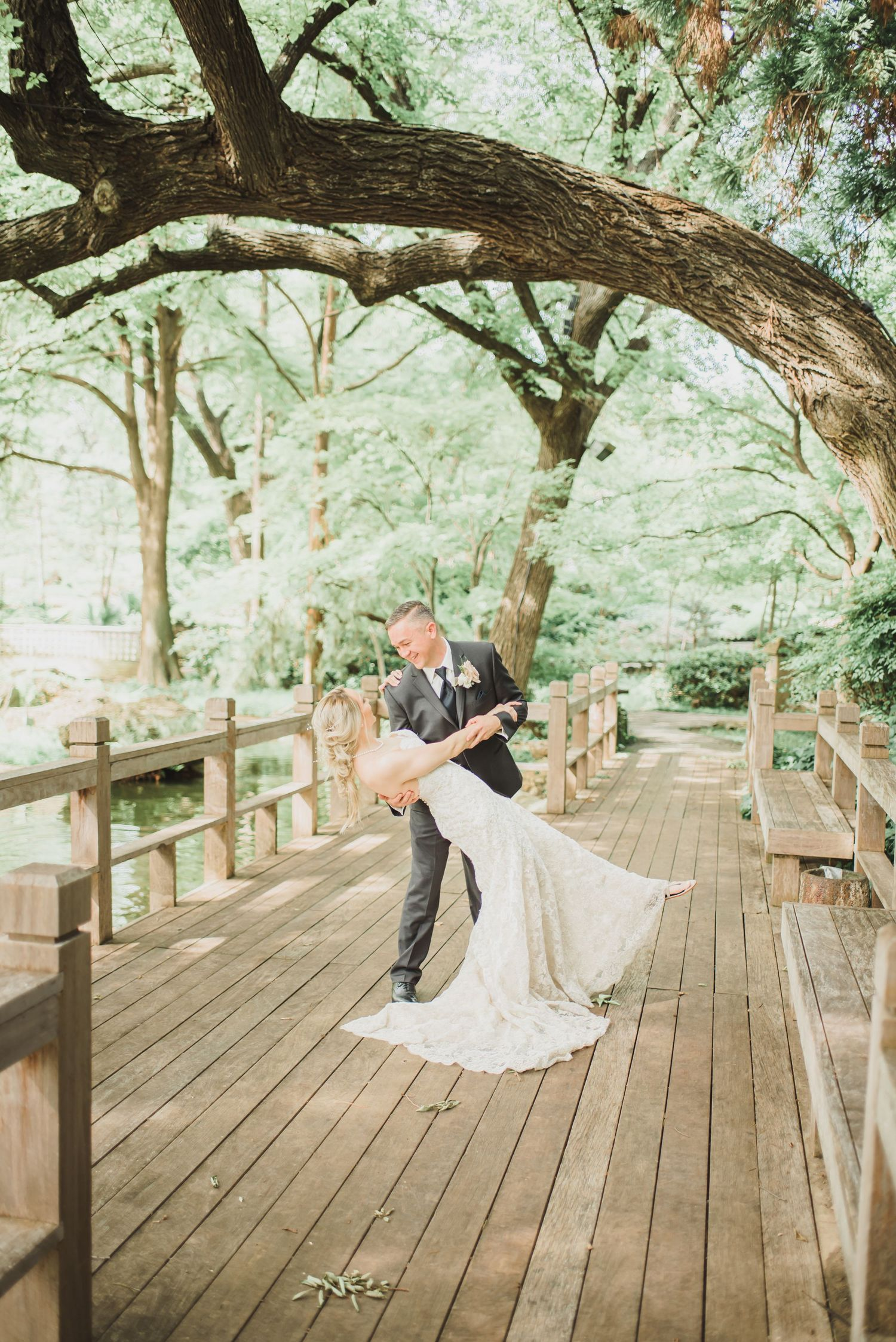 wedding photo at The Japanese Garden — Fort Worth Botanic Garden