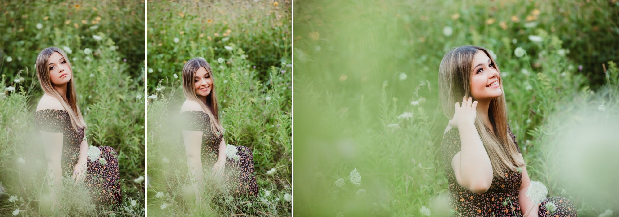 Collage of high school senior girl sitting in a field of long grass and flowers in a dark dress.