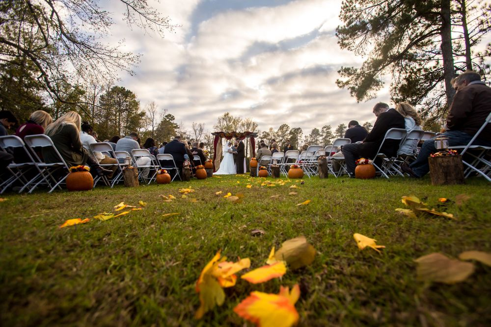 Becca & Kyle exchange vows during their wedding at T&S Farm in Leesville, SC