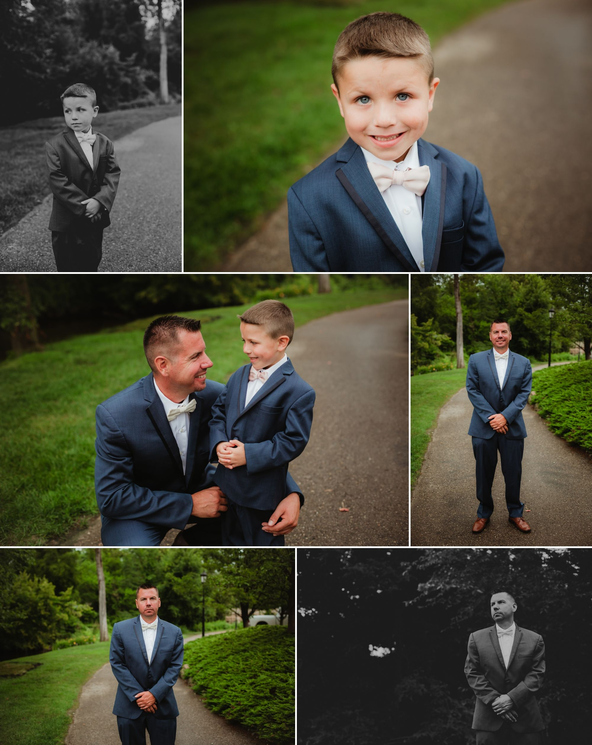 Photos of the groom and ring bearer standing on a path outside.