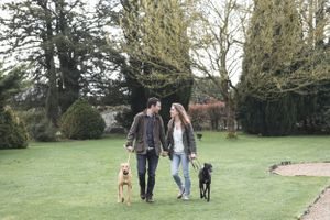 Pre Wedding Portraits with Pet Dogs Caswell House Photographer