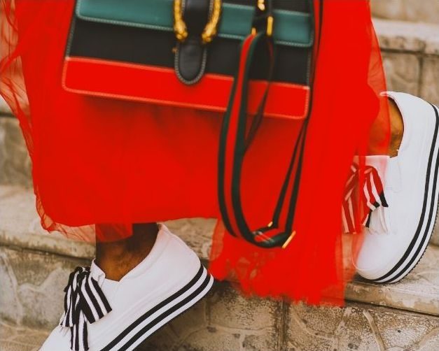 Bright red dress, matching handbag and white trainers, Brand, Photography